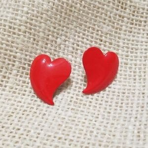 Vintage Metal Heart Stud Earrings